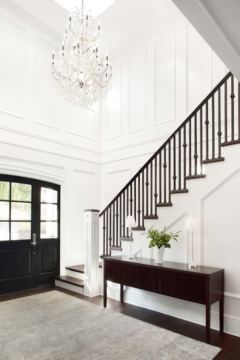 Foyer with gold sphere chandelier transitional for Decor moulding
