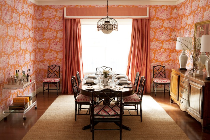 Amazing Pink And Orange Dining Room With Wallpaper Accented Pleated Valance Curtains Flanked By Black Bamboo Chairs