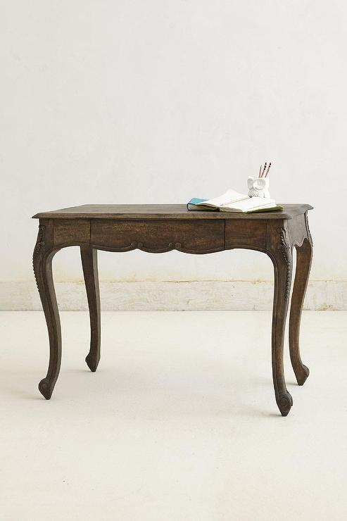 Handcarved Cabriole Curved Legs Wood Desk