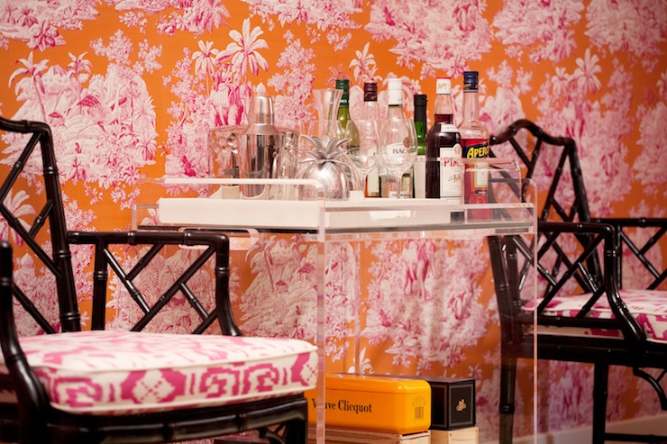 Thibaut Bamboo Lattice Wallpaper with Acrylic Bar Cart ...