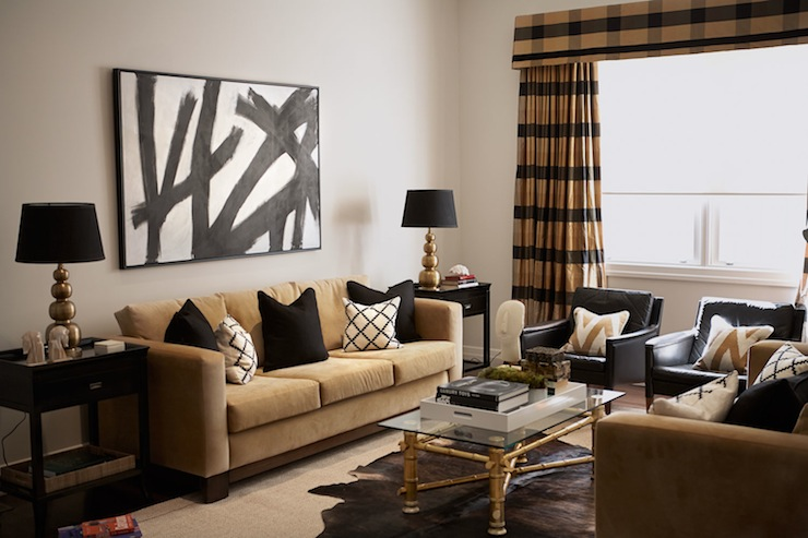 Black and gold living room contemporary living room diane bergeron interiors for Black and gold living room ideas