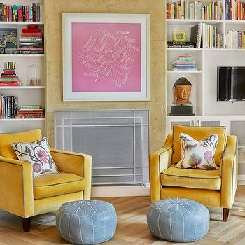 Mustard Yellow Chairs, Contemporary, den/library/office, Diane Bergeron Interiors