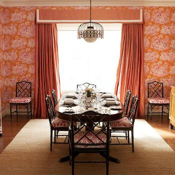 Orange Curtains, Eclectic, dining room, Diane Bergeron Interiors