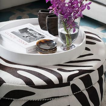 Zebra Ottoman Transitional Living Room Porter Design