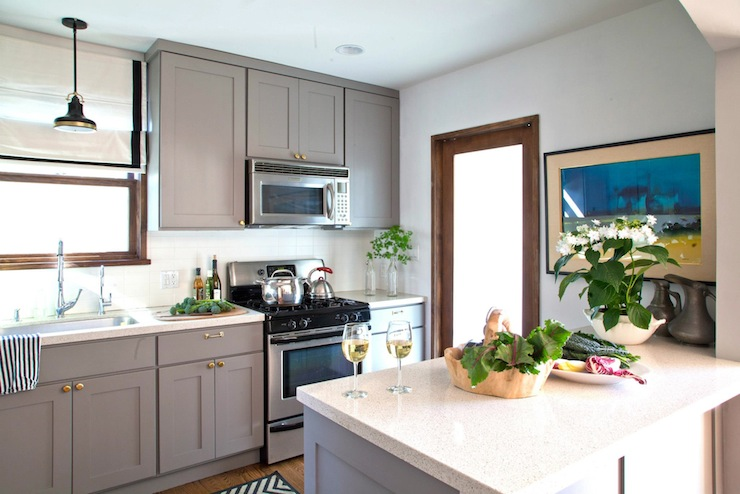 Gray Kitchen Cabinets with Brass Hardware  Transitional  kitchen