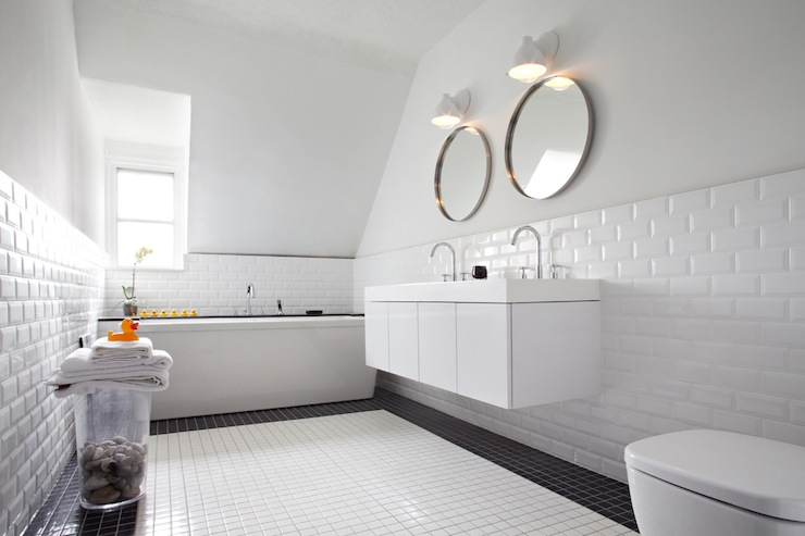 Beveled Subway Tile Backsplash Contemporary Bathroom