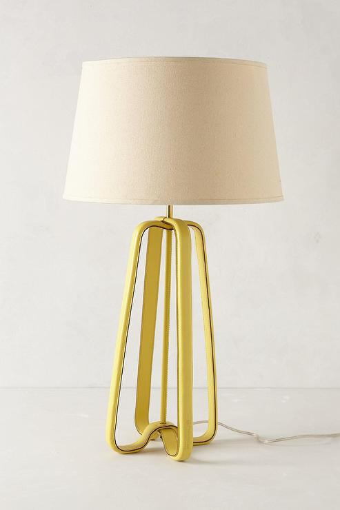 Yellow Leather Strapped Lamp Base - Leather Strapped Lamp Base