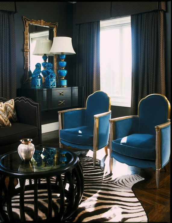 Turquoise velvet chairs contemporary living room for Black and white and turquoise bedroom ideas