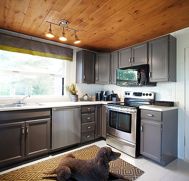 Dark gray cabinets cottage kitchen laura hay decor for Dark walls in kitchen