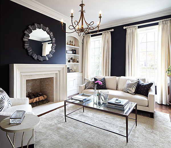 Living Room With Black Walls