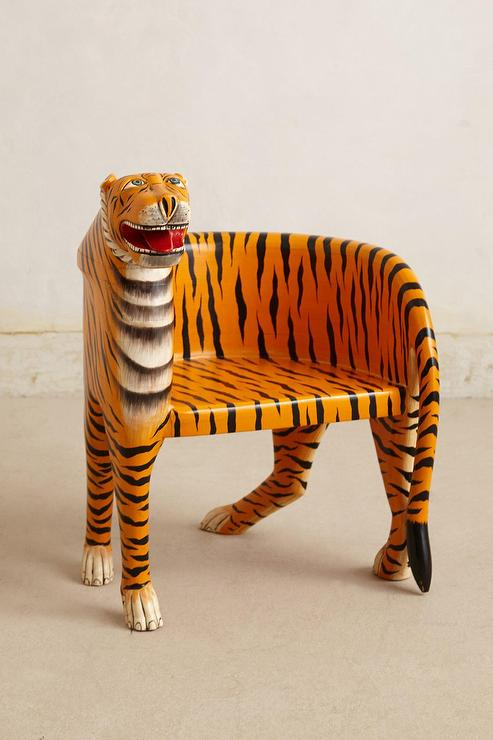 Orange Handcarved Bengal Tiger Chair