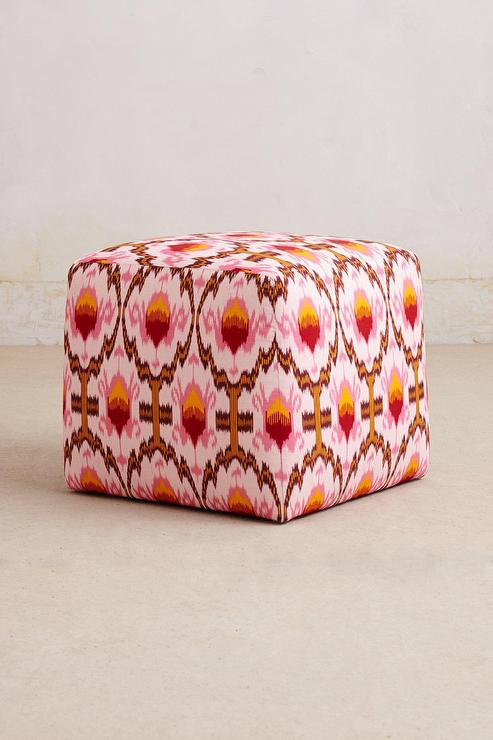 Ikat Pink Patterned Cube Ottoman View Full Size