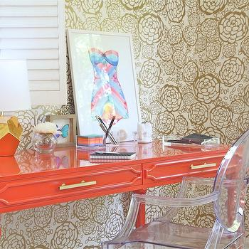 Orange Desk, Contemporary, den/library/office, Rosa Beltran Design