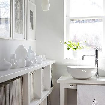 White Washstand, Contemporary, bathroom