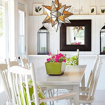 Plank Ceiling, Cottage, dining room, Laura Hay Decor Design