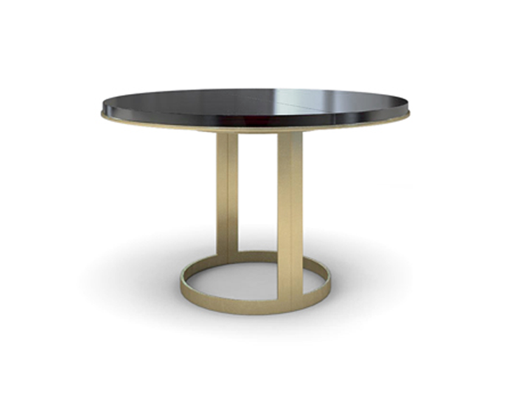 Extendable White Lacquer Top Gold Base Table