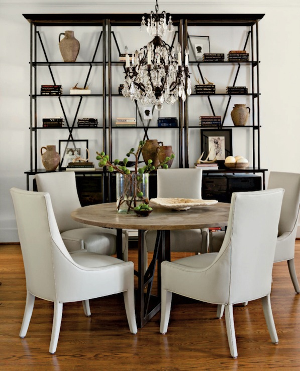 Industrial Bookcase Transitional Dining Room Lindsey