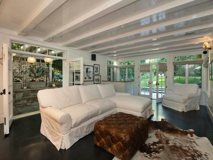 Slipcovered sectional transitional living room for Rachel ashwell house