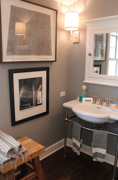 Bathroom Decor With Grey Walls : Gorgeous bathroom with gray walls and dark hardwood floors