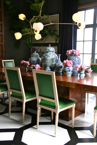 Emerald Green Chairs Contemporary dining room Grant