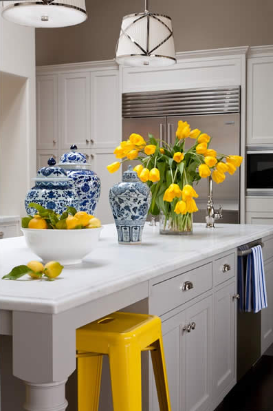 excellent white kitchen yellow accents | Yellow and Gray Kitchen - Transitional - kitchen - Grant K ...