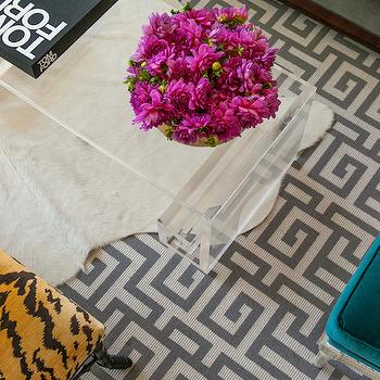 Gray Greek Key Rug, Contemporary, living room, Grant K. Gibson