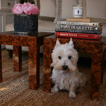Faux Tortoise Shell Tables, Transitional, living room, Grant K. Gibson