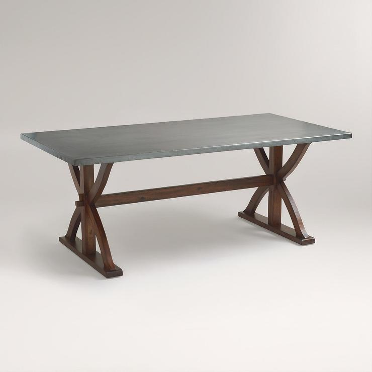 Metal Top Dining Table : Metal Top Wrapped Braxton Dining Table