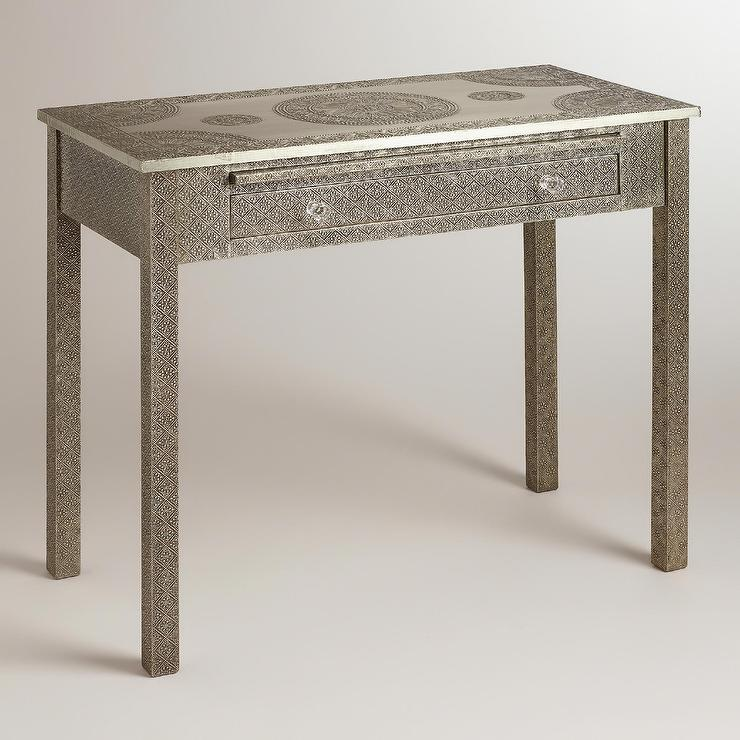 Silver Metal Embossed Indian Karissa Desk