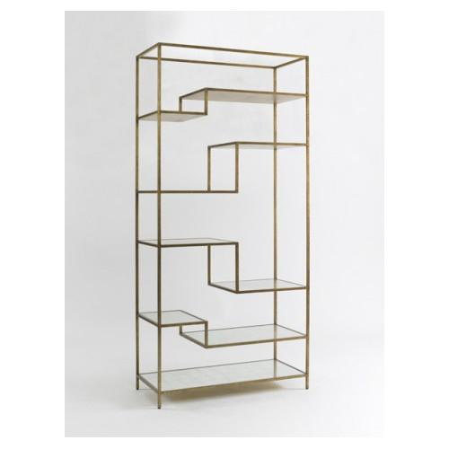 dwellstudio antique brass mirrored shelves mansfield etagere. Black Bedroom Furniture Sets. Home Design Ideas