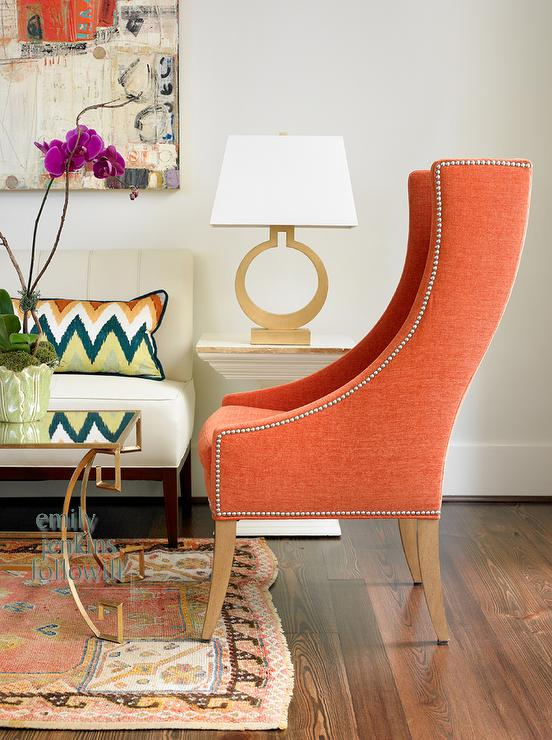 Orange Chair Transitional Living Room Olive Interiors