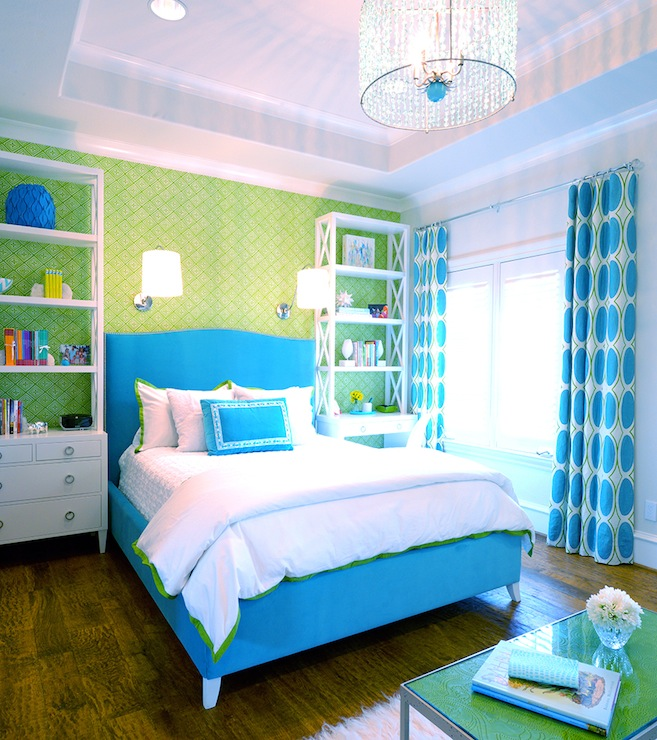 Turquoise Blue And Green S Room With Tray Ceiling Punctuated Beaded Chandelier As Well White Curtains
