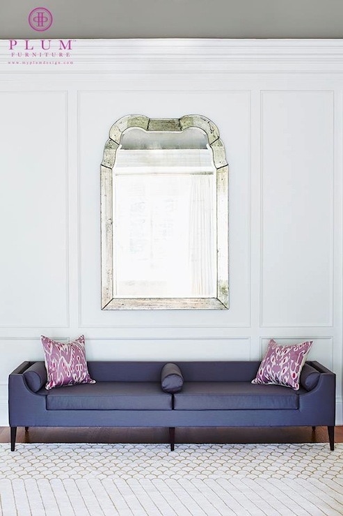 Chic Foyer With Gray Ceiling Over Antiqued Mirror On White Walls Accented  With Trim Moldings Over Purple Bench, Plum Furniture The Reese Bench  Elongated, ...