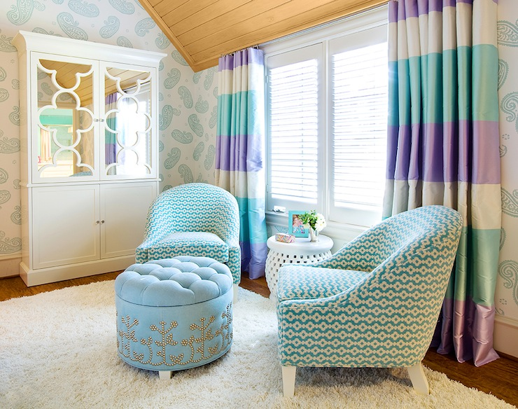 With White And Teal Paisley Wallpaper Framing Armoire Mirrored Quatrefoil Doors As Well Purple Turquoise Striped Curtains