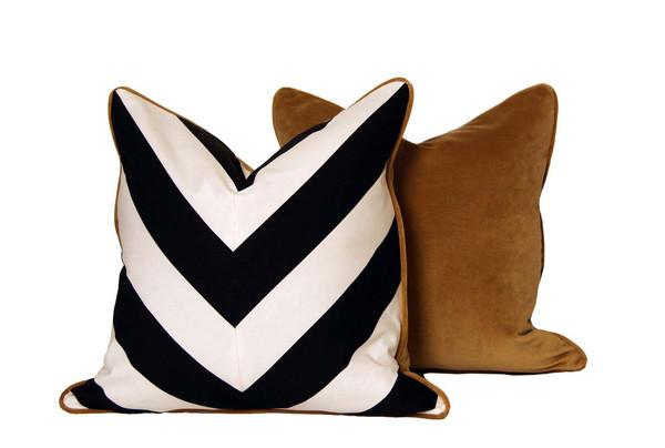 Brown Back Black And White Chevron Throw Pillow