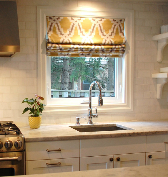 Yellow and gray fabric transitional kitchen kate for Yellow and gray kitchen