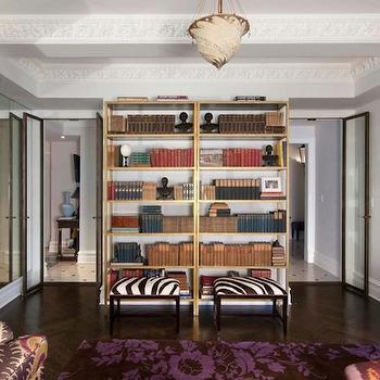 Brass Bookcase, Contemporary, den/library/office, Spruce Interior Design