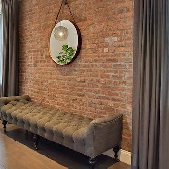 Gray Tufted Bench, Transitional, living room, Spruce Interior Design