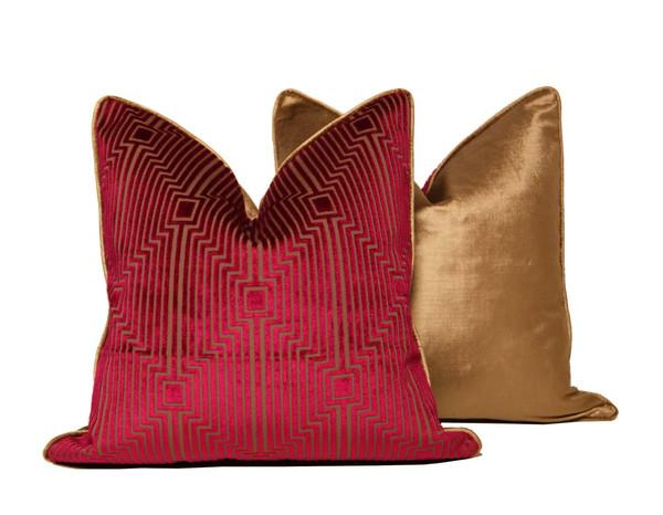Velour Throw Pillows : Pink and Gold Velour Geo Pattern Throw Pillow