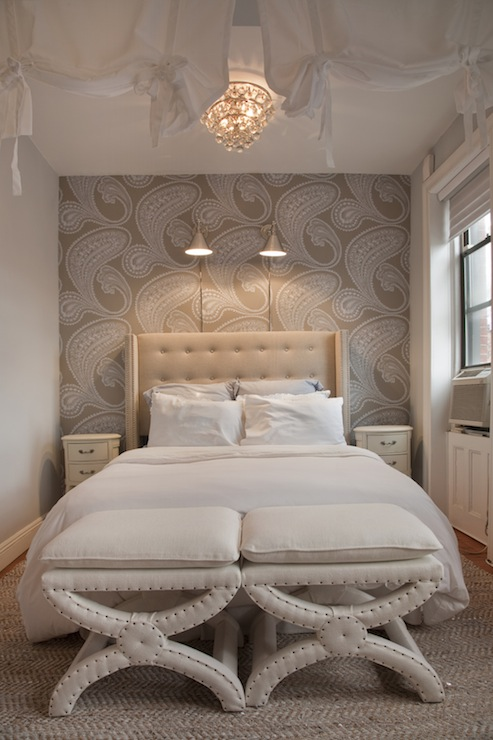 Gray damask wallpaper transitional bedroom benjamin for Wallpaper for bedroom walls