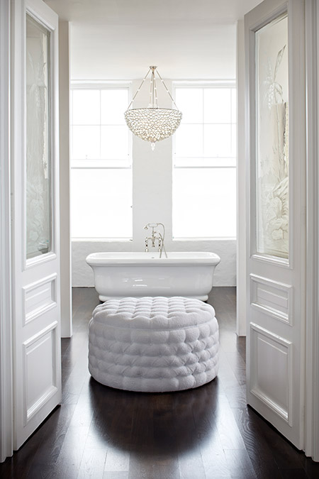 White Tufted Ottoman Transitional Bathroom Cynthia