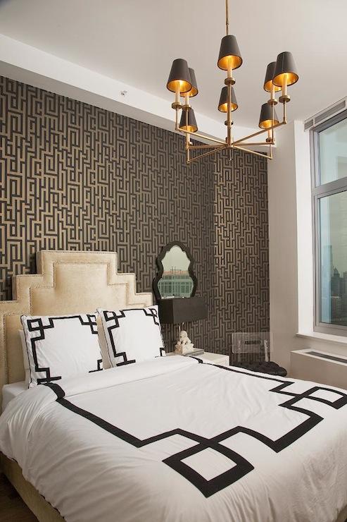 Greek Key Duvet Hollywood Regency Bedroom Lily Z Design