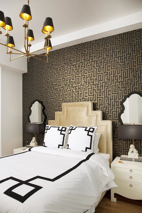 view full size  Stunning bedroom features black and gold wallpaper. Green and Blue Bedroom   Transitional   Bedroom
