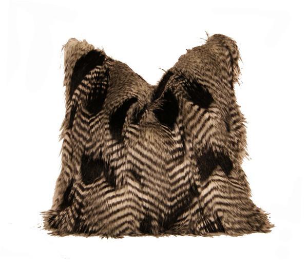 Black Fur Throw Pillows : Feather Fur Throw Pillow - Black and White - CC DeuxVie