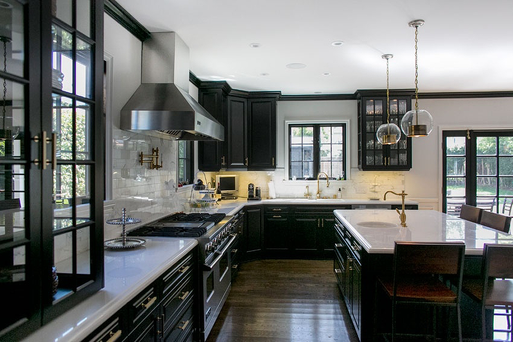Black Kitchen Cabinets With White Marble Countertops Black Kitchen Cabinets   Contemporary   kitchen   Abby Wolf Weiss