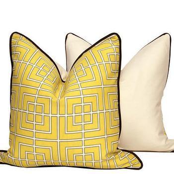 Yellow GEO Throw Pillow Cover, CC DeuxVie