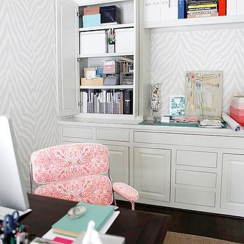Gray Zebra Wallpaper, Contemporary, den/library/office, Knight Moves