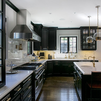 Black Kitchen Cabinets, Contemporary, kitchen, Abby Wolf Weiss Interiors