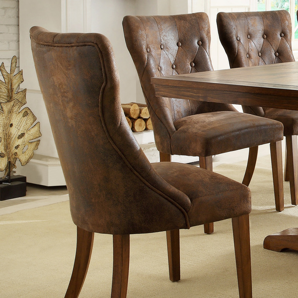 Astonishing Tufted Brown Leather Dining Chair Look 4 Less And Steals Caraccident5 Cool Chair Designs And Ideas Caraccident5Info