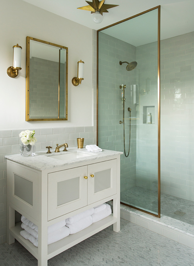 Brass Shower Partition Contemporary Bathroom Nina